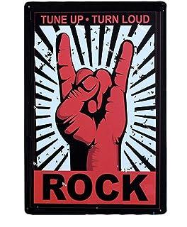 KUSTOM FACTORY - Targa in metallo, motivo: Sign Rock Tune Up Turn Loud