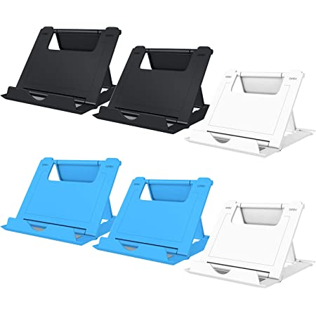"""Elimoons 6 Pack Cell Phone Stands, Universal Foldable Tablet Stand Multi-Angle Pocket Desktop Holder Cradle Compatible with iPhone 11 Pro Xs Max X 8 7 6s Plus, All Android Smartphones Tablets (6-10"""")"""