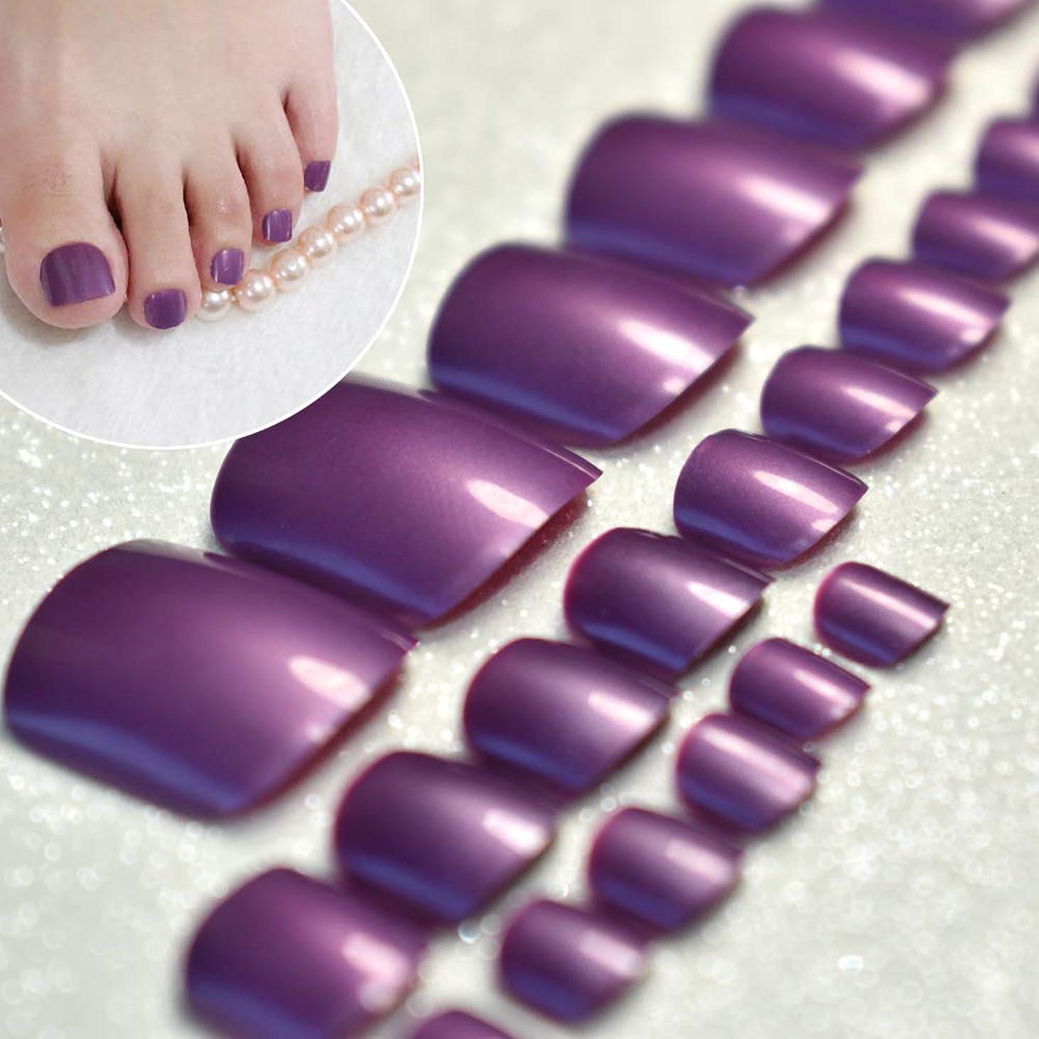 散歩残酷な郡XUTXZKA 足の爪のためのきらめく光沢のあるグレープパープルネイルのヒント足のためのお菓子祭りの偽の足指24本