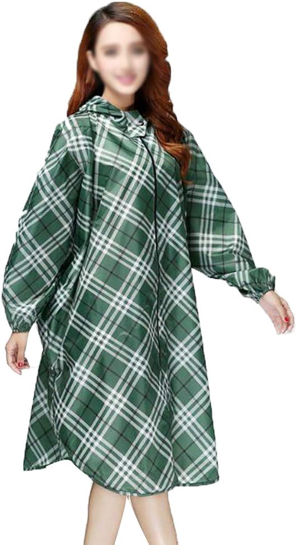 Women's Raincoat Rainwear,Long Dot Waterproof Hooded Coat Rain Jacket for Travel, Festivals, Theme Parks and Outdoors,Green