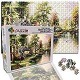 Puzzle Grande para Niño Infantiles Adolescentes Adultos Jigsaw Puzles 1000 Piezas Riverside Ciudad Edificio Árboles Paisaje (75 X 50 Cm)