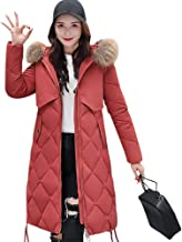 Leomodo Women Winter Down Long Hoodie Thicken Coat Solid Big Fur Collar Cotton Outerwear