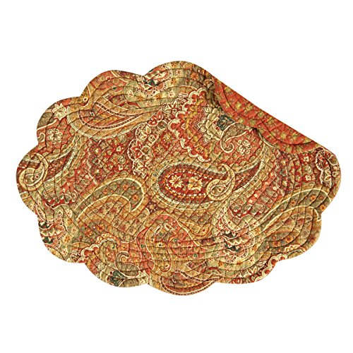 C&F Home Tangiers Orange Paisley Oval Quilted Reversible Cotton Quilted Reversible Cotton Placemat Set of 6 Oval Placemat Set of 6 Orange