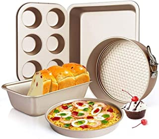 Beauenty 5-Pieces Carbon Steel Nonstick Baking Pans Oven Baking Set with Springform Pan, 6-Cup Muffin Pan, Square Roasting...