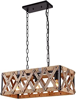 Anmytek Square Metal and Wood Chandelier Basket Pendant Three Lights Oil Black Finishing Rope Net Lamp Shade Retro Vintage Industrial Rustic Ceiling Lamp Caged Light