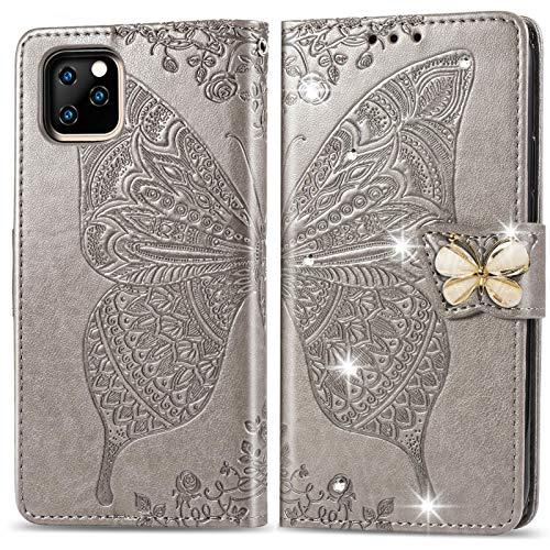 Suhctup Funda para iPhone 11 de 6,1 pulgadas, libro de piel sintética con mariposas y flores brillantes, cartera con soporte, función de apoyo, tarjetero, funda protectora