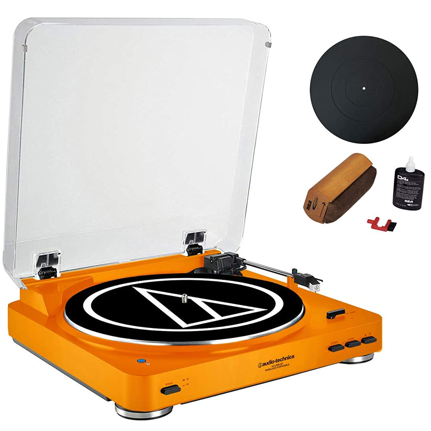 Audio-Technica Fully Automatic Bluetooth Stereo Turntable System LE Orange (AT-LP60ORBT) + Universal 12