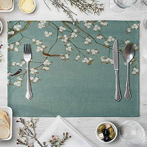 AmDxD Juego de manteles de lino de algodón para mesa de comedor de 10,4 x 40,6 cm Brevity es hermosa. Decoraciones al aire libre, resistentes al calor, antideslizantes, color blanco y verde