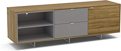 Polifurniture Enviken Modern TV Stand Console, 70 inch, Walnut/Gray