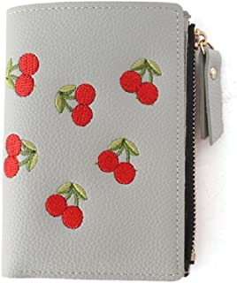 Stylish Cherry Embroidered Leather Wallet for Women Short Purse Organizer (Color : Gray)