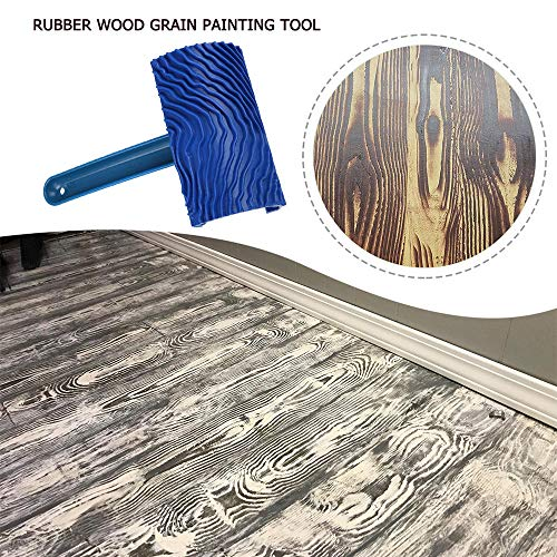 ROEAM blauwe houtnerf rubber verfroller, DIY schilderij grain tool houtnerf patroon verfroller met handvat