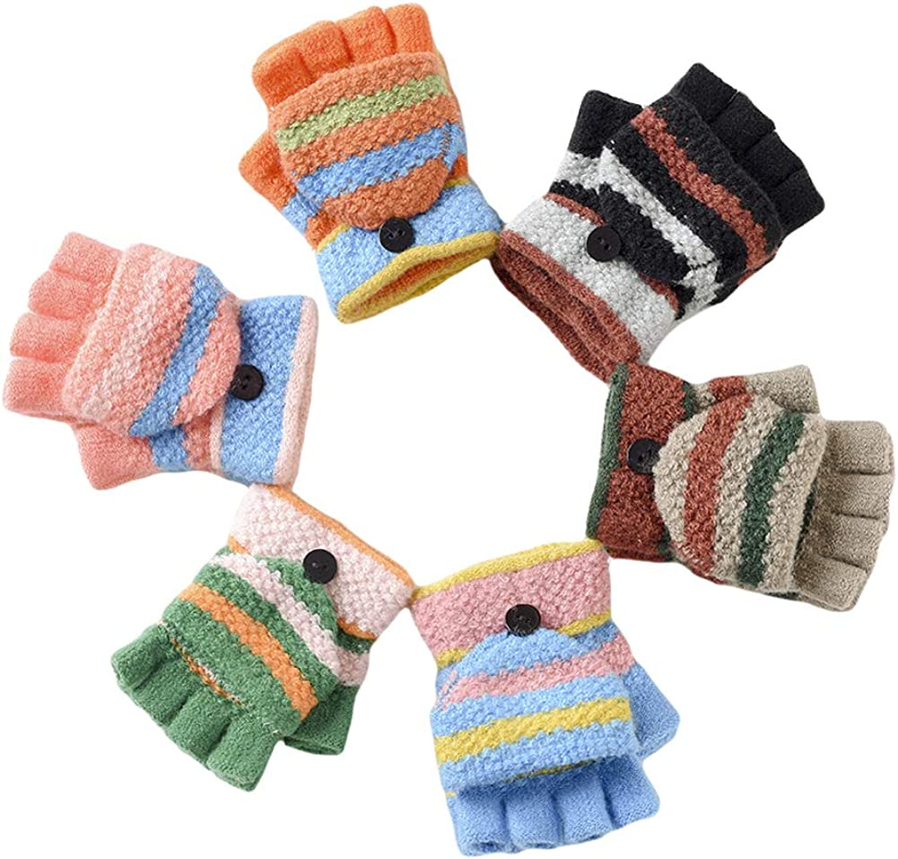 CHUANGLI 6 Pack Unisex Kids Knitted Convertible Flip Top Gloves Mittens Warm Soft Winter Gloves for Boys Girls Baby Gloves
