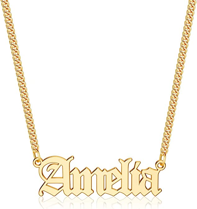Anoup Gold Custom Name Necklace Personalized, 14k Gold Plated Personalized Name Necklace Gold Customized Necklace Jewelry Name Plate Necklace Personalized Gifts for Women Gothic Font Style