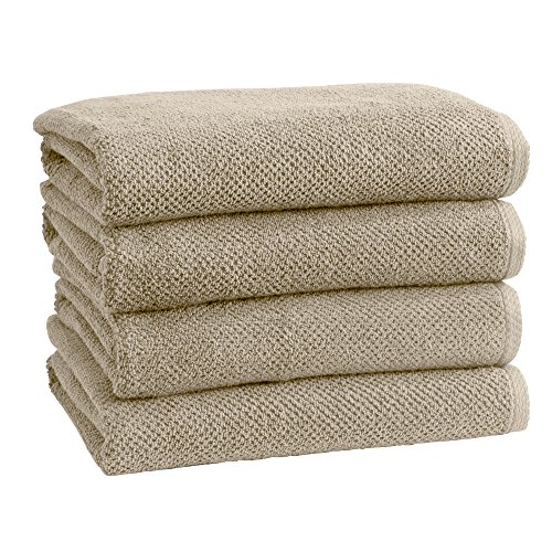 100% Cotton Quick-Dry Bath Towel Set (30 x 52 inches) Highly Absorbent, Textured Popcorn Weave Bath Towels. Acacia Collection (Set of 4, Silver Cloud)