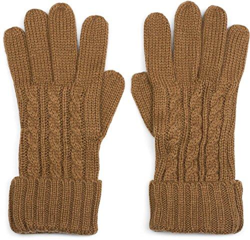 styleBREAKER Damen Handschuhe mit Zopfmuster und doppeltem Bund, warme Strickhandschuhe, Fingerhandschuhe 09010009, Farbe:Cognac