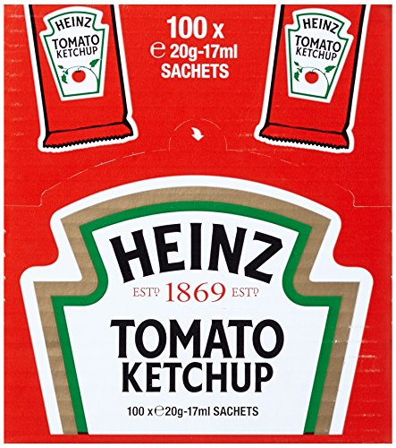 Heinz Tomato Ketchup, Portsionsbeutel, 100er Pack (100 x 17 ml)