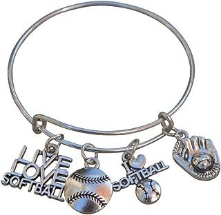 Infinity Collection Softball Charm Bangle Bracelet- Softball Jewelry for Softball Players, Softball Mom or Softball Team