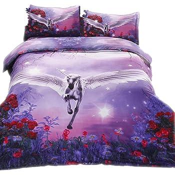 CHAOSE Juego de Sábanas Rose Flying Unicorn Funda Nórdica de ...
