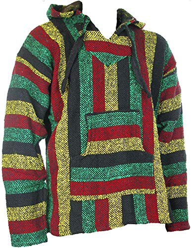Siesta - Sudadera con capucha estilo mexicano, diseño hippy, colores rasta, Sz, M, L, XL, XXL multicolor multicolor large