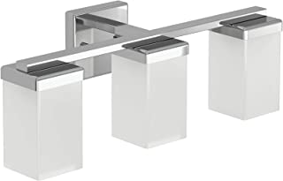 Moen YB8863CH 90 Degree 3-Light Dual-Mount Bath Bathroom Vanity Fixture with Frosted Glass, Chrome