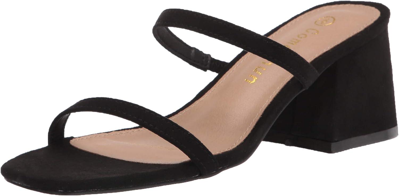 ComeShun Women Low Block Heels Choice Mules Japan Maker New Toe Sandal Strap Open Ankle