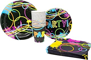 Blue Orchards Glow Party Standard Party Packs (65+ Pieces for 16 Guests!), Glow Party Supplies, Tableware