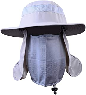 Perfeclan Men Women Sun Hat UV Protection with Neck Flap and Face Cover, Summer Outdoor Wide Brim Breathable Quick Dry Fishing Hat