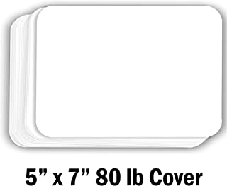 Hamilco White Cardstock Thick Paper - Blank Index Flash Note & Post Cards with Rounded Corners - Greeting Invitations Stationery 5 X 7