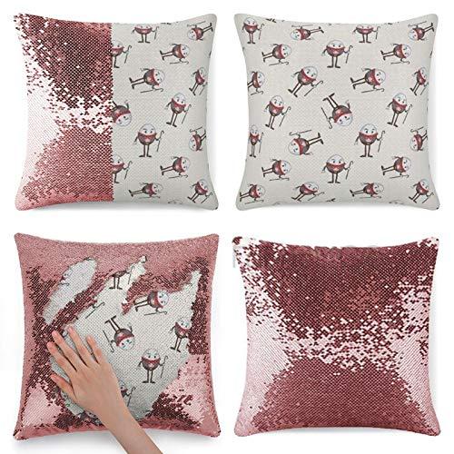 Funda de almohada con lentejuelas, diseño de Alicia en el País de las Maravillas Humpty Dumpty Egg Dancing en cuento de hadas, funda de almohada de lentejuelas rosas reversibles