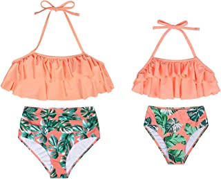 MetCuento Women Two Piece Swimsuits High Waisted Bathing Suit Girls Swimwear Mommy and Me Swimsuits Bikini Set