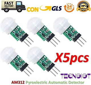 TECNOIOT 5pcs Am312-Sensor Pyroelectric Automatic Detector Motion Mini Infrared IR AM312