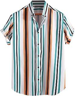 JJLIKER Mens Hipster Hip Hop Casual Short Sleeve Shirts Button Down Tops Regular Fit Colorful Stripe Beach Tee Shirt