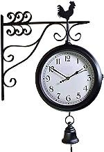 Wall Clock ساعة الحائط الأوروبية ذات الوجهين على مدار الساعة الإبداعية الكلاسيكية (أسود) Decorative Clock
