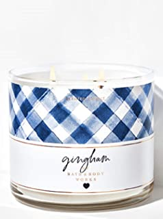 Bath and Body Works NEW Gingham 3 Wick Candle 14.5 oz w Burn Time of 25-45 Hours