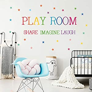 Playroom Decals Share Imagine Laugh with Stars Wall Stickers Colorful Inspirational Lettering Quote Wall Decals for Nursery Kids Room Classroom