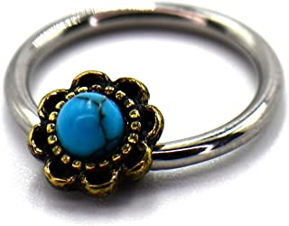 16 GA Round Ornate Rope Turquoise Curved Barbell Eyebrow Ring 316L Surgical Stainless Steel Body Piercing Jewelry for Women and Men Davana Enterprises