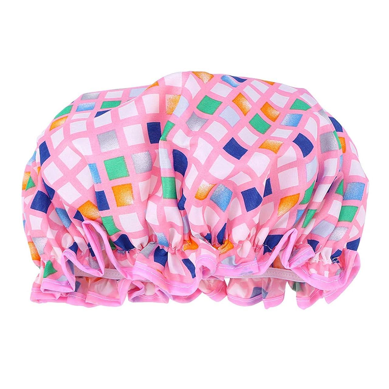 以来ジャンプする食欲Healifty 防水入浴シャワーキャップ美しく厚くなったダブルデッキエヴァシャワーキャップ女の子女性レディ用(ピンク)