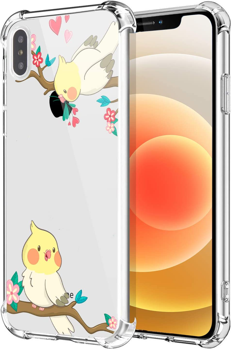 CFIRE Cute Animals Case for iPhone X/XS Clear Cartoon Garden Bird Painting Girls Woman Soft Slim TPU Anti-Scratch Shockproof Protective Case Compatible iPhone X/XS