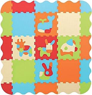 LUDI – Tapis de sol épais pour l'éveil de bébé – 10006 - puzzle géant aux motifs Animaux – dès 10 mois – lot de 9 dalles e...