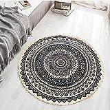 Lanqinglv, tappeto rotondo, 80 cm, bohémien, colorato, psichedelico, tappeto indiano per interni ed esterni, camera da letto boho, tappeto rotondo, patio, arte astratta