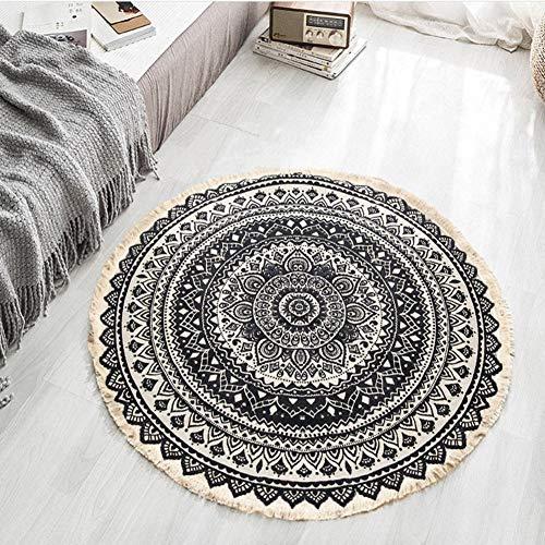 Lanqinglv Tapis rond de 80 cm - Style bohème - Multicolore - Psychédélique - Pour l