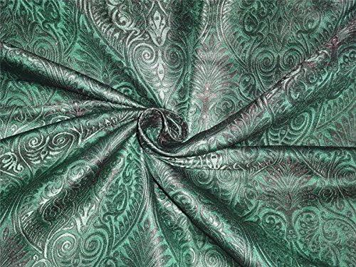 Heavy silk brocade emerald green Mail order x 3 BRO529 Award-winning store black