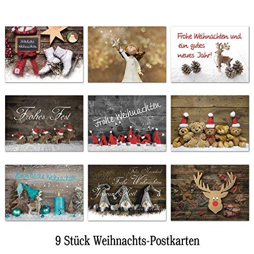 Logbuch-Verlag Weihnachtskarten Set 9 verschiedene Weihnachts Postkarten 10,5 x 14,8 cm Nostalgie vintage schwarz weiß rot grün türkis Karten Weihnachten