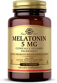 Solgar Melatonin 5 mg, 60 Nuggets - Helps Promote Relaxation & Sleep - Clinically Studied Melatonin - Supports Natural Sle...