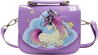 Eilova Orityle Kids Crossbody Purse Elegant Unicorn Princess Shoulder Tote Bag Cute Clutch Handbag for Little Girls Purple