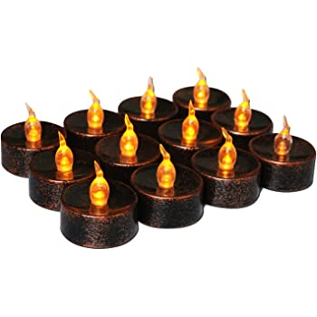 Advocator Black Flameless Candles Small Electric Tea Lights Battery Operated Fake Candles Vintage Votives Tealight Candles for Festival Halloween Home Decorations 24pcs