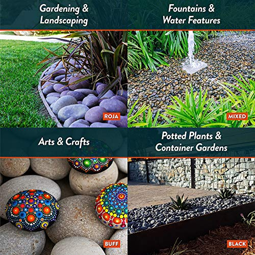 Mexican Beach Pebbles | 20 Pounds of Smooth Unpolished Stones | Hand-Picked, Premium Pebbles for Garden and Landscape Design | Mixed, 3 Inch - 5 Inch