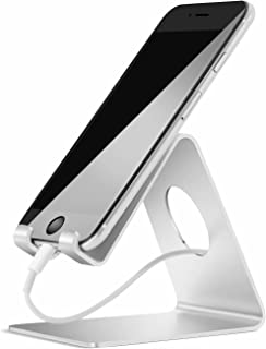 Lamicall Cell Phone Stand, Phone Dock : Cradle, Holder, Stand Compatible with Switch, All Android Smartphone, Phone 11 Pro Xs Xs Max Xr X 8 7 6 6s Plus 5 5s 5c Charging, Accessories Desk - Silver