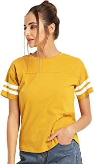 Ytrick Women's Yellow Cotton Tshirt