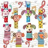 ThinkMax 8 pcs sonajeros para bebés, muñequeras y buscador de pies, bebé Infantil Peluche muñeca Animales ,sonajeros Manos pies Juguetes de Desarrollo Finders